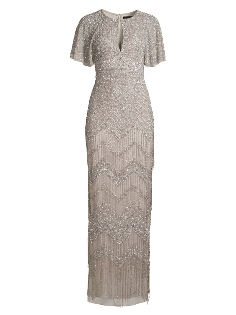 Aidan Mattox Fully Beaded Evening Gown