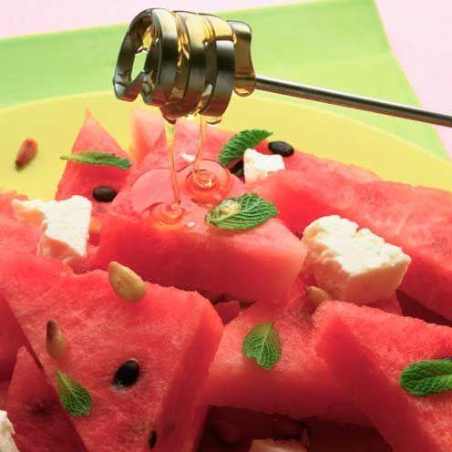 """<p>Salty feta and juicy watermelon make a perfect combination in this simple fruit salad</p><p><strong>Recipe: <a href=""""https://www.goodhousekeeping.com/uk/food/recipes/a536118/watermelon-with-feta-and-honey/"""" rel=""""nofollow noopener"""" target=""""_blank"""" data-ylk=""""slk:Watermelon with feta and honey"""" class=""""link rapid-noclick-resp"""">Watermelon with feta and honey</a></strong></p>"""
