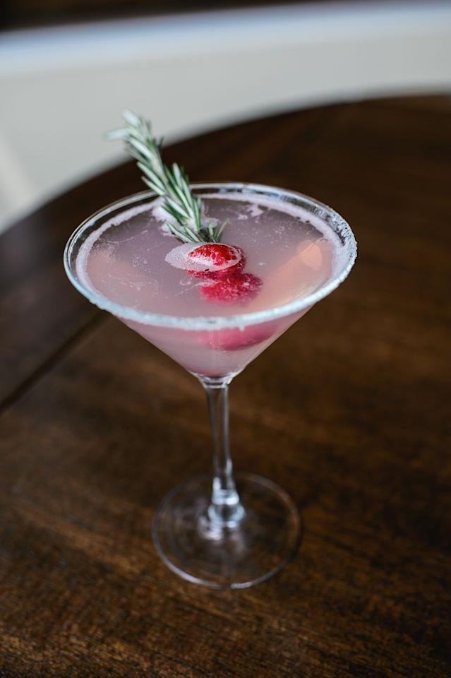 """<p><em></em><strong>Ingredients<br></strong>1.5oz vodka<br>.75 oz cherry brandy<br> Juice of 1 lime<br>Raspberries <br>Rosemary<br>Sugar</p><p><strong>Instructions<br></strong>Rim a Martini glass with sugar. Fill your cocktail shaker halfway with ice and pour in the ingredients. Shake until chilled and strain the mixture into the glass. Garnish with two raspberries and sprig of rosemary.</p><p><em>From <a href=""""https://davios.com/nyc"""" target=""""_blank"""">Davio's NYC</a></em></p><p><strong>More</strong>: <a href=""""https://www.townandcountrymag.com/leisure/drinks/g1022/holiday-cocktails/"""" target=""""_blank"""">25+ Easy & Festive Christmas Cocktail Recipes</a></p>"""