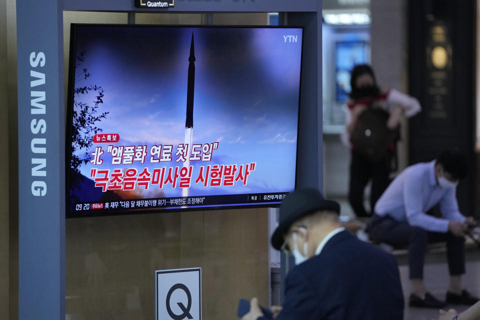 """A TV news program reporting about North Korea's missile launch is seen at a train station in Seoul, South Korea, Wednesday, Sept. 29, 2021. North Korea said Wednesday it successfully tested a new hypersonic missile it implied was being developed as nuclear capable, as it continues to expand its military capabilities and pressure Washington and Seoul over long-stalled negotiations over its nuclear weapons. The Korean letters read: """"Test a new hypersonic missile."""" (AP Photo/Lee Jin-man)"""