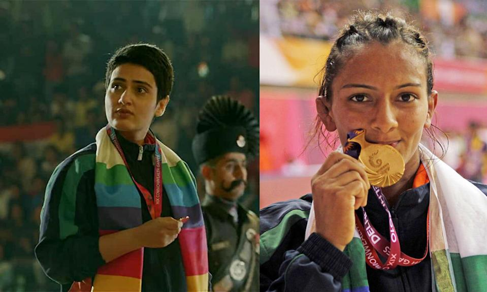 Fatima Sana Sheik plays Geeta Phogat, the first Indian freestyle wrestler to ever win a gold medal at the Commonwealth Games in 2010. She is also the first Indian female wrestler to have qualified for the Olympic Summer Games.