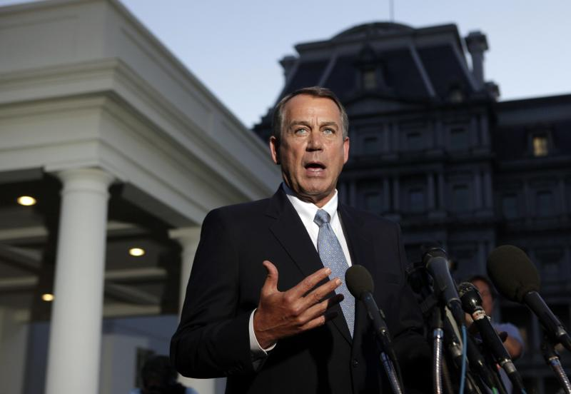 U.S. House Speaker Boehner speaks to media following his meeting with U.S. President Obama, outside West Wing of White House in Washington