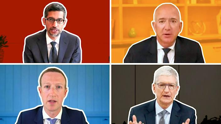 Four chief executives - Alphabet's Sundar Pichai, Amazon's Jeff Bezos, Facebook's Mark Zuckerberg and Apple's Tim Cook - appeared via video call