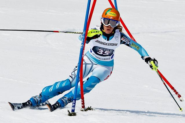 OFTERSCHWANG, GERMANY - MARCH 04: (FRANCE OUT) Stiegler Resi of the USA takes 2nd place competes during the Audi FIS Alpine Ski World Cup Women's Slalom on March 4, 2012 in Ofterschwang, Germany. (Photo by Stanko Gruden/Agence Zoom/Getty Images)