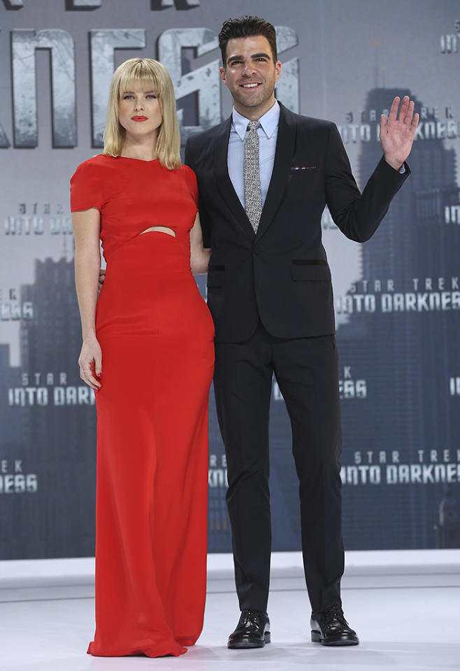 BERLIN, GERMANY - APRIL 29:  Alice Eve and Zachary Quinto attend the 'Star Trek Into Darkness' Premiere at CineStar on April 29, 2013 in Berlin, Germany.  (Photo by Sean Gallup/Getty Images for Paramount Pictures)