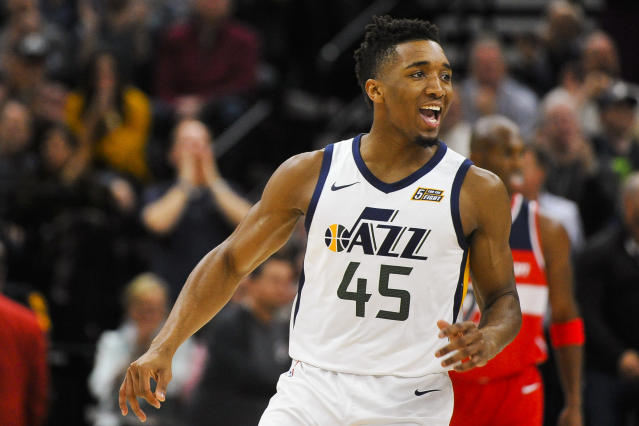 "<a class=""link rapid-noclick-resp"" href=""/ncaab/players/131179/"" data-ylk=""slk:Donovan Mitchell"">Donovan Mitchell</a>'s been scoring at the rim and from beyond the arc during Utah's six-game winning streak. (AP)"