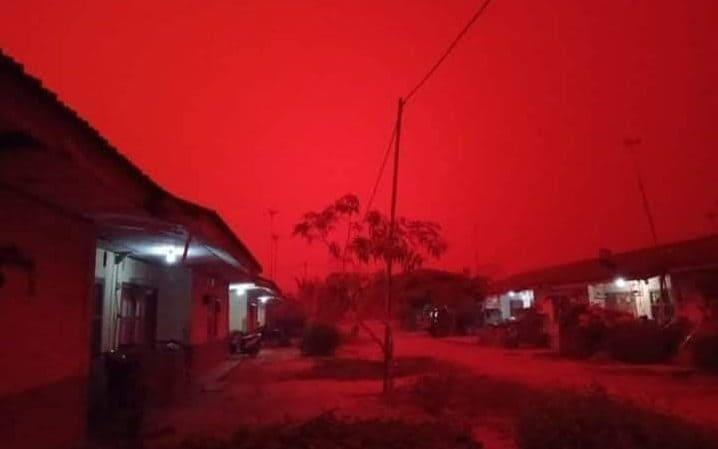 Indonesian skies have turned an eerie red because of forest fires