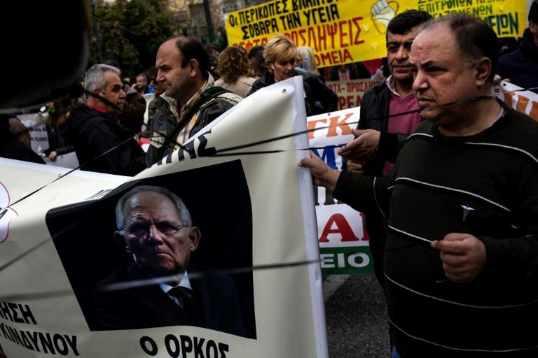 German Finance Minister Wolfgang Schaeuble was the target of anger at a demonstration by Greek state hospital workers this week