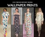 <p>Your granny's old wallpaper might feel dreary as a kid, but Emila Wickstead's take on the chintz wallpaper felt fresh while Marques' Almeida gave a groovy update to the classic floral pattern. Photo: IMAXtree</p>
