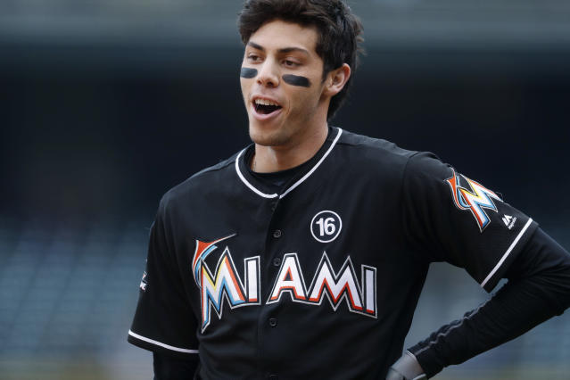 "After losing his outfield mates, <a class=""link rapid-noclick-resp"" href=""/mlb/players/9320/"" data-ylk=""slk:Christian Yelich"">Christian Yelich</a> also wants out of Miami. (AP Photo/David Zalubowski)"