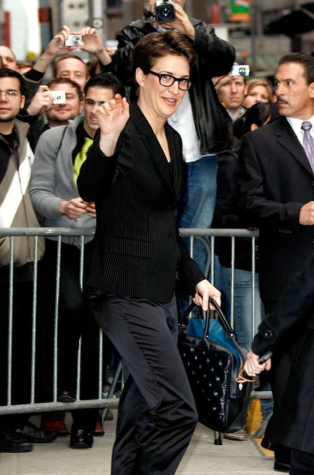 "In addition to being the coolest talking head on cable TV, MSNBC's Rachel Maddow also happens to be a graduate of Stanford, a Rhodes scholar, a doctor of philosophy, a nationally syndicated radio show host, a loving companion to her artist girlfriend, and an out and proud lesbian. Jeffrey Ufberg/<a href=""http://www.wireimage.com"" target=""new"">WireImage.com</a> - March 16, 2009"