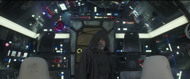 Luke Skywalker (Mark Hamill) enters the cockpit of the <i>Millennium Falcon</i>. (Photo: Lucasfilm)