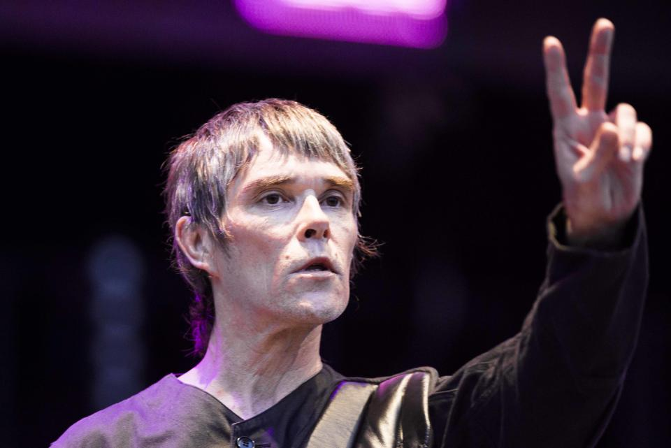 Ian Brown of the Stone Roses performs live on stage at Finsbury Park, London.