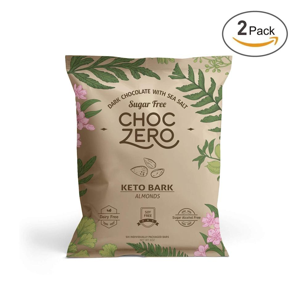 <p><span>ChocZero's Keto Bark, Milk Chocolate Almonds</span> ($15 for two bags) are our favorite kind of sweet treat.</p>
