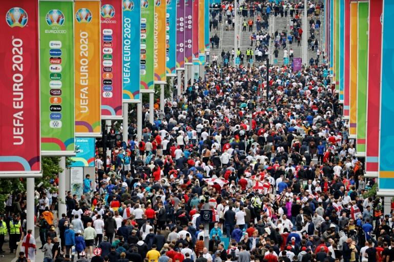 England supporters make their way up Olympic Way and into Wembley for the Germany game