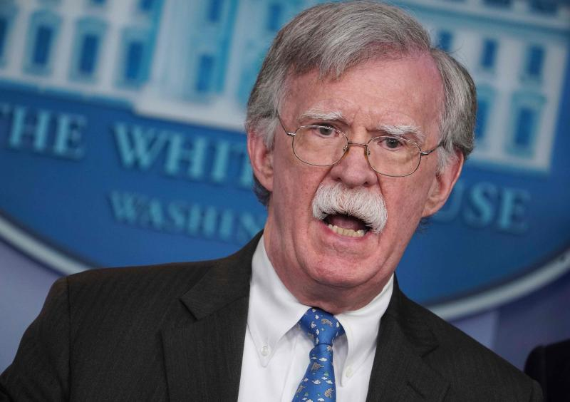 National security adviser John Bolton speaks during a news briefing in the White House in Washington, Jan. 28, 2019.