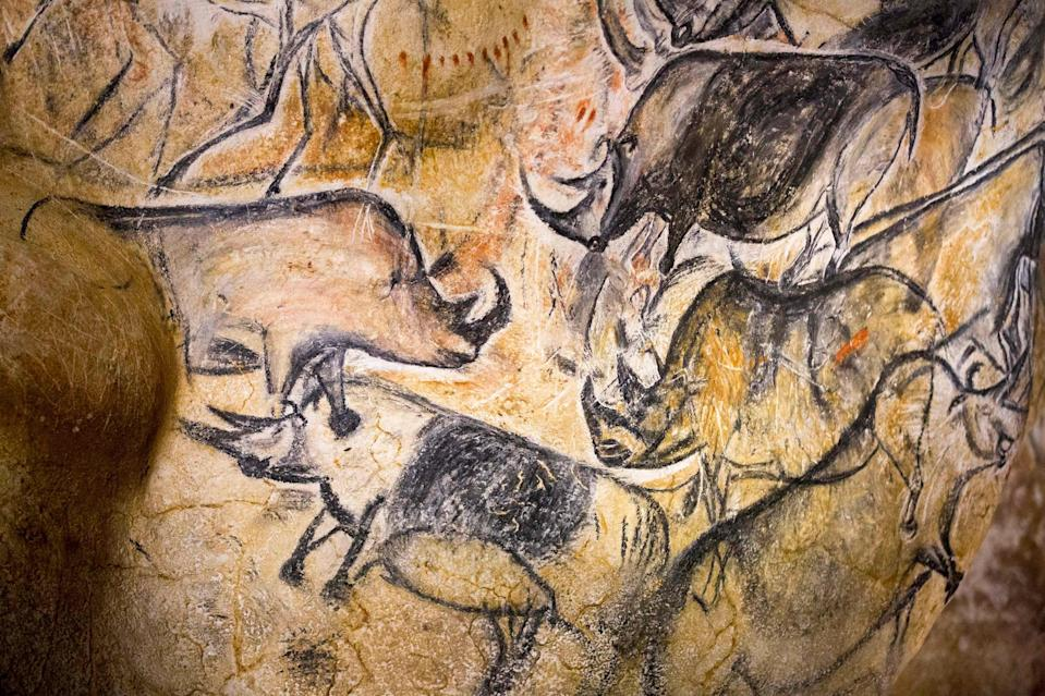 A replica of pre-historic animals drawings on a wall at the site of the Cavern of Pont-d'Arc project in Vallon Pont d'Arc, France (REUTERS)