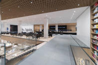 This undated image released by the The Museum of Modern Art shows an interior view of the West Lobby Lounge and Eli & Edythe Broad Ticketing Platform, part of the renovation and expansion effort at MoMA in New York. As the Museum of Modern Art in Manhattan prepares to reopen following a $450 million, 47,000 square foot expansion, visitors can prepare for much more than much-needed elbow room there - and new juxtapositions of works meant to encourage broader perspectives and new narratives. (Iwan Baan/MoMA via AP)