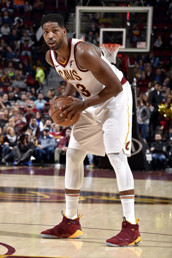 CLEVELAND, OH - DECEMBER 1: Tristan Thompson #13 of the Cleveland Cavaliers handles the ball against the Toronto Raptors on December 1, 2018 at Quicken Loans Arena in Cleveland, Ohio. (Photo by David Liam Kyle/NBAE via Getty Images)