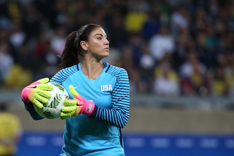 USWNT goalkeeper Hope Solo takes the ball during a match against New Zealand during the 2016 Olympics in Brazil.