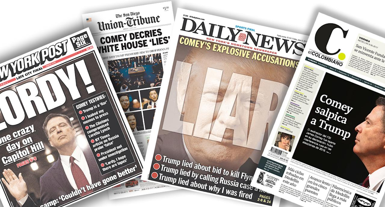 <p>Here is a look at how just some of the world's newspapers covered the axed FBI chief's day in the spotlight. (Newseum) </p>