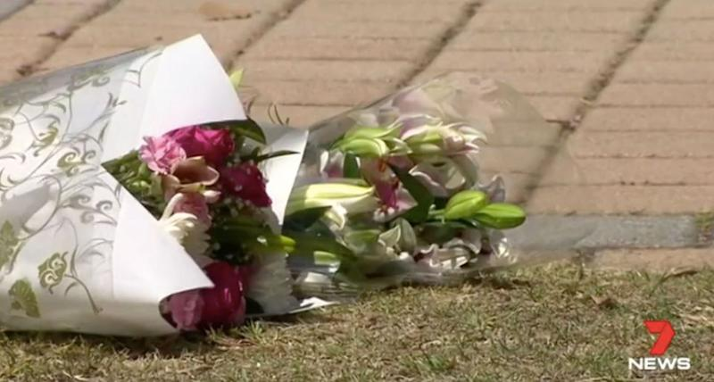 Flowers laid at the scene where Jacob Cummins was struck. Source: 7 News
