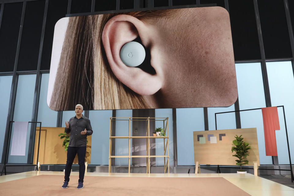 NEW YORK, NY - OCTOBER 15: Rick Osterloh, SVP of devices and services at Google, discusses the new Google Pixel Buds ear pods  during a Google launch event on October 15, 2019 in New York City. Google's new ear buds will be released in Spring 2020 and retail for $179.  (Photo by Drew Angerer/Getty Images)