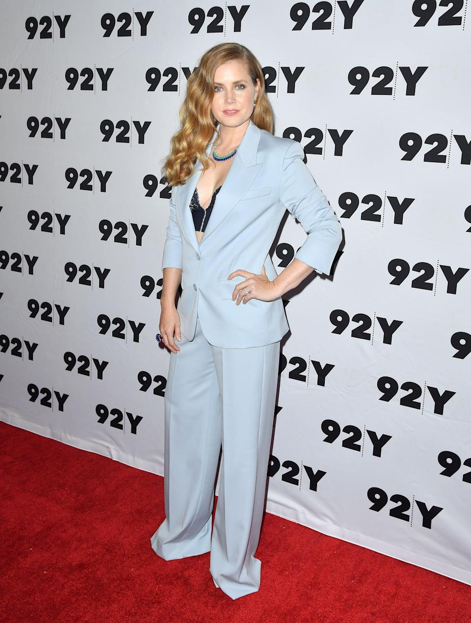 <p>Amy Adams opted for a powder blue suit for a screening of 'Sharp Objects' in New York on 28 June. <em>[Photo: Getty]</em> </p>