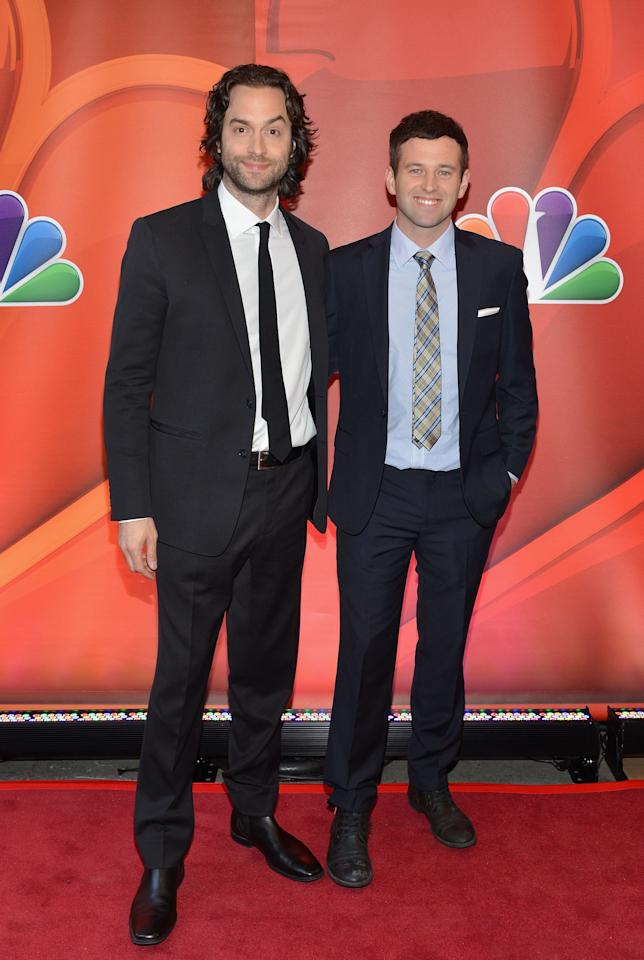 NEW YORK, NY - MAY 13:  Actors Chris D'Elia and Brent Morin attend 2013 NBC Upfront Presentation Red Carpet Event at Radio City Music Hall on May 13, 2013 in New York City.  (Photo by Slaven Vlasic/Getty Images)