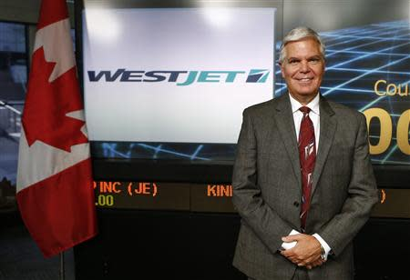 WestJet CEO Saretsky poses for a picture before the annual general meeting for shareholders in Toronto