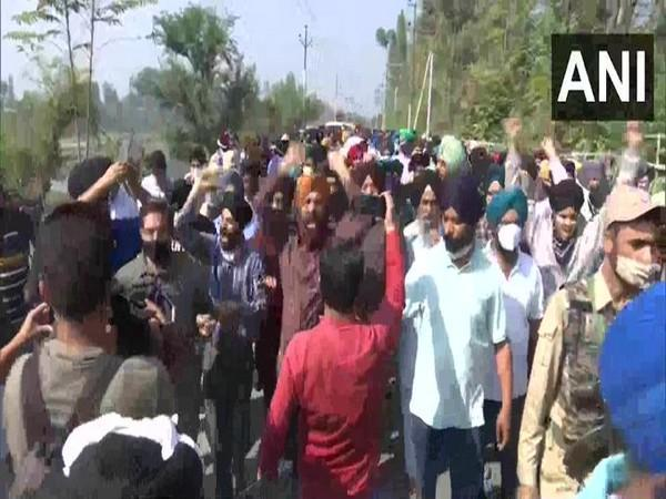 A visual from the protest against the killing of two teachers, in Jammu on Friday. [Photo/ANI]