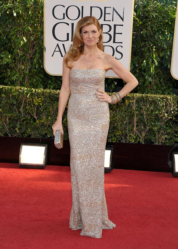 Connie Britton arrives at the 70th Annual Golden Globe Awards at the Beverly Hilton in Beverly Hills, CA on January 13, 2013.