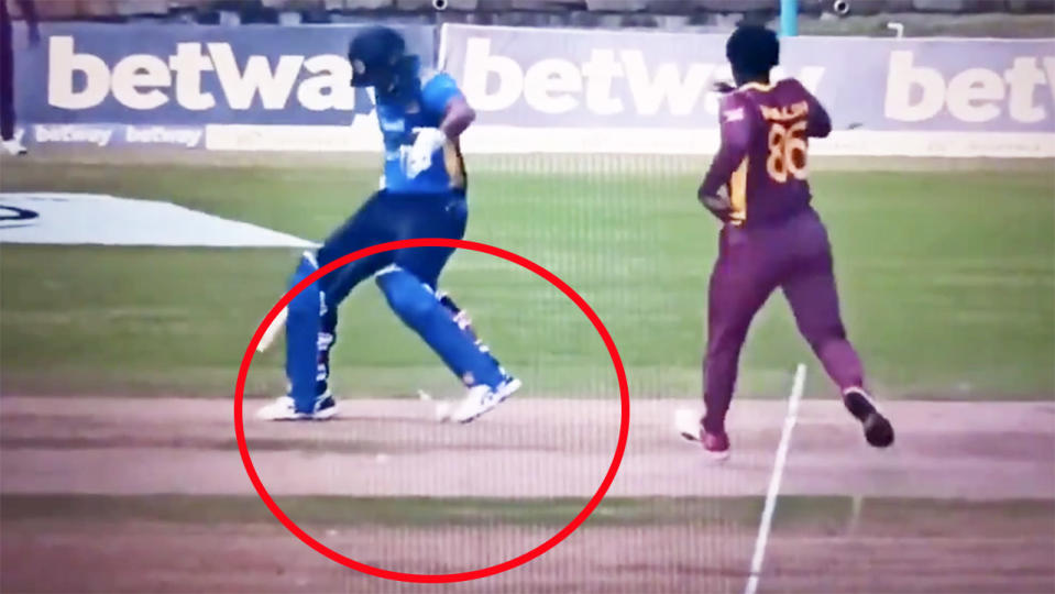 Danushka Gunathilaka, pictured here being given out obstructing the field against West Indies.