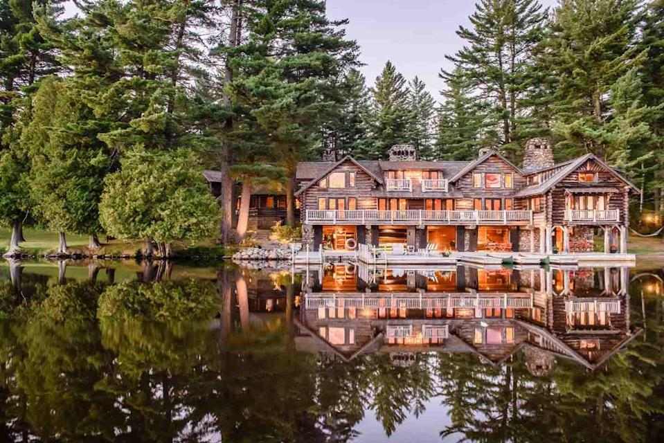 """<p><strong>Best for:</strong> Giant extended-family get-togethers</p> <p>Long before glamping made the idea of """"roughing it"""" much more palatable, Great Camps—the grand log cabin compounds built by Gilded Age titans in upstate <a href=""""https://www.cntraveler.com/gallery/romantic-getaways-new-york?mbid=synd_yahoo_rss"""" rel=""""nofollow noopener"""" target=""""_blank"""" data-ylk=""""slk:New York"""" class=""""link rapid-noclick-resp"""">New York</a>—allowed families including the Vanderbilts and Rockefellers to commune with nature in the utmost comfort. Lake Kora, which is open seasonally from July 1 through October 15, has been a playground for visitors to recharge away from the big city for more than 120 years; it's now one of just a handful of remaining relics of this tradition that travelers can actually experience. Available by exclusive booking only, the rustic 1,000-acre estate can house up to 35 guests and offers an on-site bowling alley, squash court, and roller rink, plus the chance to kayak, canoe, and more, all on a private 500-acre <a href=""""https://www.cntraveler.com/gallery/most-beautiful-lakes-in-the-world?mbid=synd_yahoo_rss"""" rel=""""nofollow noopener"""" target=""""_blank"""" data-ylk=""""slk:lake"""" class=""""link rapid-noclick-resp"""">lake</a>—in other words, fun for the whole family, away from the rest of the world.</p> <p><strong>Book now:</strong> $19,980 per night (based on 16 bedrooms for 24 persons, inclusive of children), <a href=""""https://www.lakekora.com/"""" rel=""""nofollow noopener"""" target=""""_blank"""" data-ylk=""""slk:lakekora.com"""" class=""""link rapid-noclick-resp"""">lakekora.com</a></p>"""