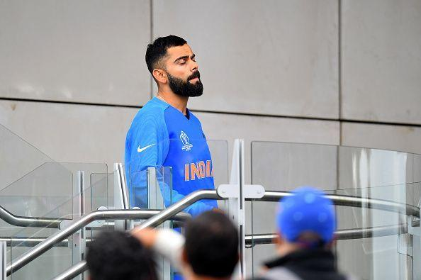 A disappointed Virat Kohli post the semifinal defeat against New Zealand in Manchester