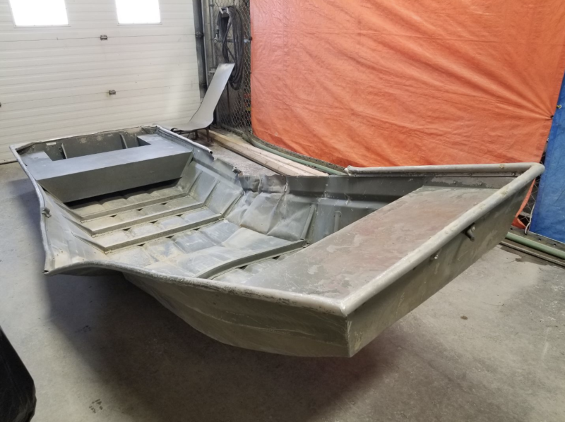 Pictured is the aluminium boat found on the banks of the Nelson River believed to have been used by teen fugitives Kam McLeod and Bryer Schmegelsky.