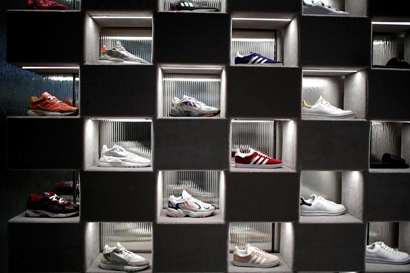 Adidas sneakers are displayed for sale at the Galeries Lafayette department store on the Champs-Elysees avenue in Paris, France, April 11, 2019. REUTERS/Benoit Tessier