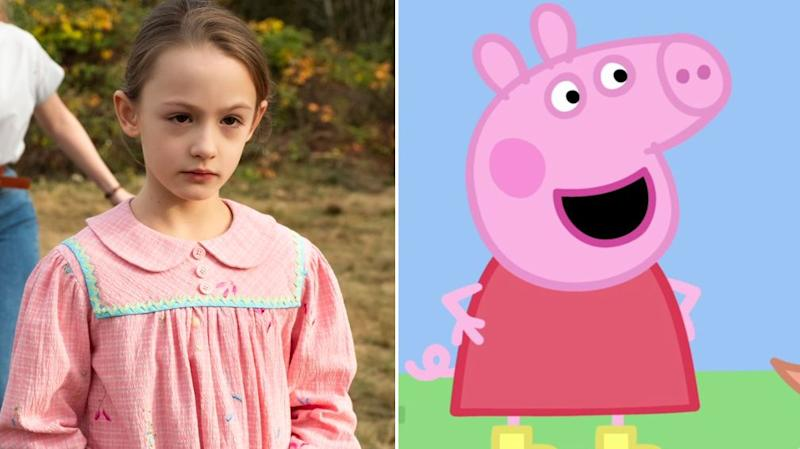 Amelie Bea Smith as Flora in The Haunting Of Bly Manor and Peppa Pig (Photo: Netflix/BBC)