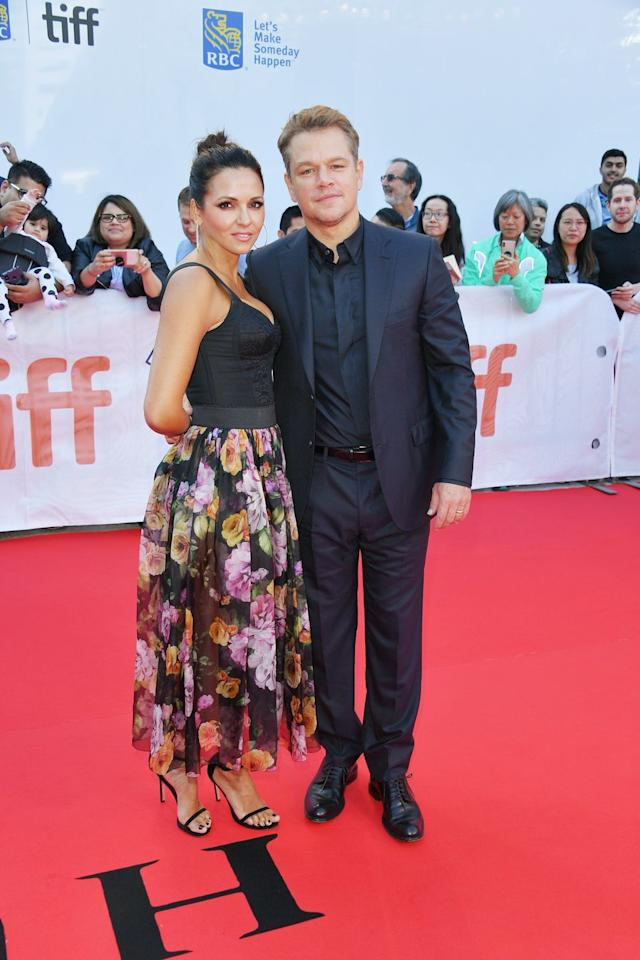 <p>Matt Damon was supported by his wife of 14 years at the TIFF premiere for new film Ford v Ferrari on 9th September.</p>