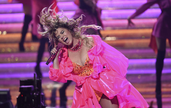 FILE - Shania Twain performs a medley at the American Music Awards on Nov. 24, 2019, in Los Angeles. Twain turns 55 on Aug. 28. (Photo by Chris Pizzello/Invision/AP, File)