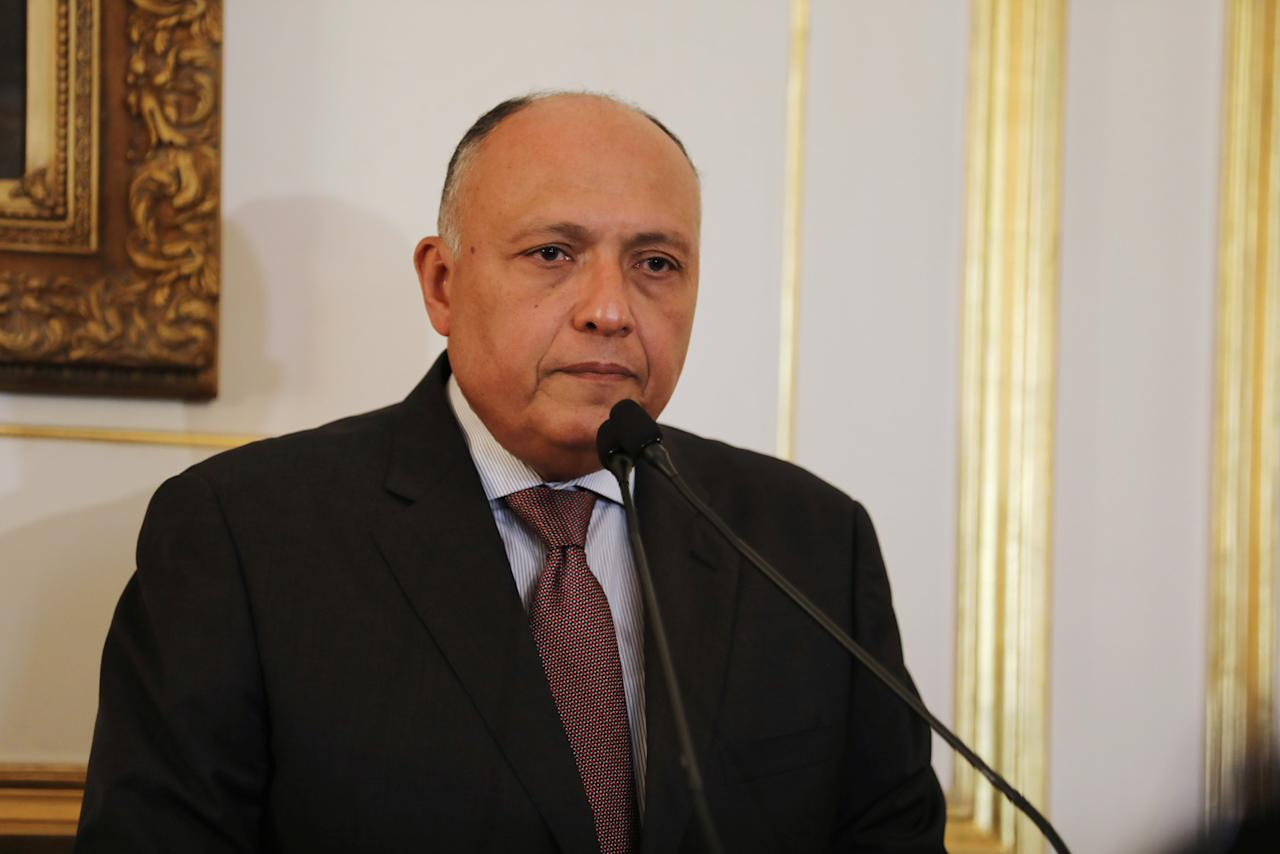 Egypt's Foreign Minister Sameh Shukri speaks during a news conference after meeting with representatives from Libya's neighbour states and United Nations' envoy for Libya, Martin Kobler, in Cairo, Egypt January 21, 2017. REUTERS/Mohamed Abd El Ghany