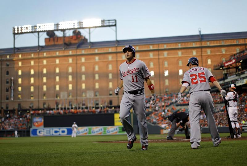 Washington Nationals' Ryan Zimmerman (11) jogs off the field after hitting a solo home run in the fourth inning of an interleague baseball game against the Baltimore Orioles, Wednesday, May 29, 2013, in Baltimore. (AP Photo/Patrick Semansky)