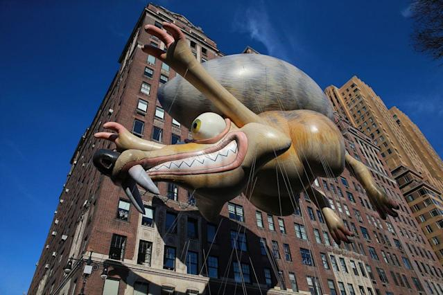 Scrat, the rambunctious star of the Ice Age franchise, heads down Central Park West in the 89th Macy's Thanksgiving Day Parade in New York, Nov. 26, 2015. (Photo: Gordon Donovan/Yahoo News)