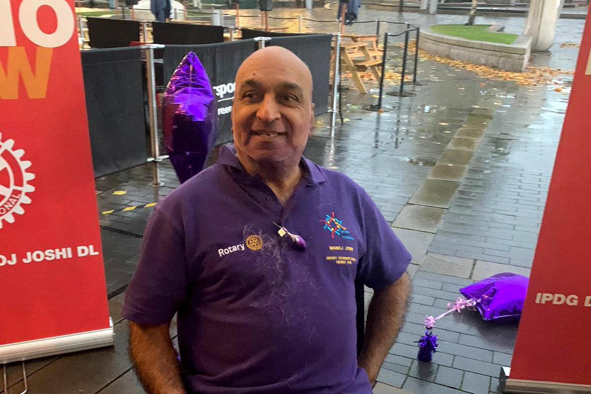 """Dr Manoj Joshi, 68, shaved his moustache for the first time in 52 YEARS at Bradford City Hall to raise funds to eradicate polio. See SWNS story SWLEmoustache; A man who shaved his moustache to raise funds for a polio vaccine says his wife can't even recognise him - after he trimmed it for the first time in 52 YEARS. Dr Manoj Joshi, 68, says he had never shaved his moustache ever since he could grow one as a fresh faced 16-year-old but decided to chop it all off in a bid to """"eradicate polio"""". But after he chopped it off his shocked wife said she couldn't recognise him as she'd never seen him without it in the 42 years they had been married. The grandfather-of-two joked that it would take a lawn mower to trim his luscious facial hair - which is older than the invention of the mobile phone. Dr Joshi, a proud Rotarian, which is a worldwide charitable society with over a million members worldwide, has been involved in what he calls """"acts of giving"""" for his entire life. On World Polio Day (Saturday, Oct 24) he took centre stage at a park in front of Bradford City Hall to shave off his beloved moustache in an """"emotional day""""."""