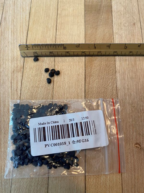 Unsolicited seeds that arrived in the mail, reported by a U.S. citizen to the U.S. Department of Agriculture's Animal and Plant Health Inspection Service