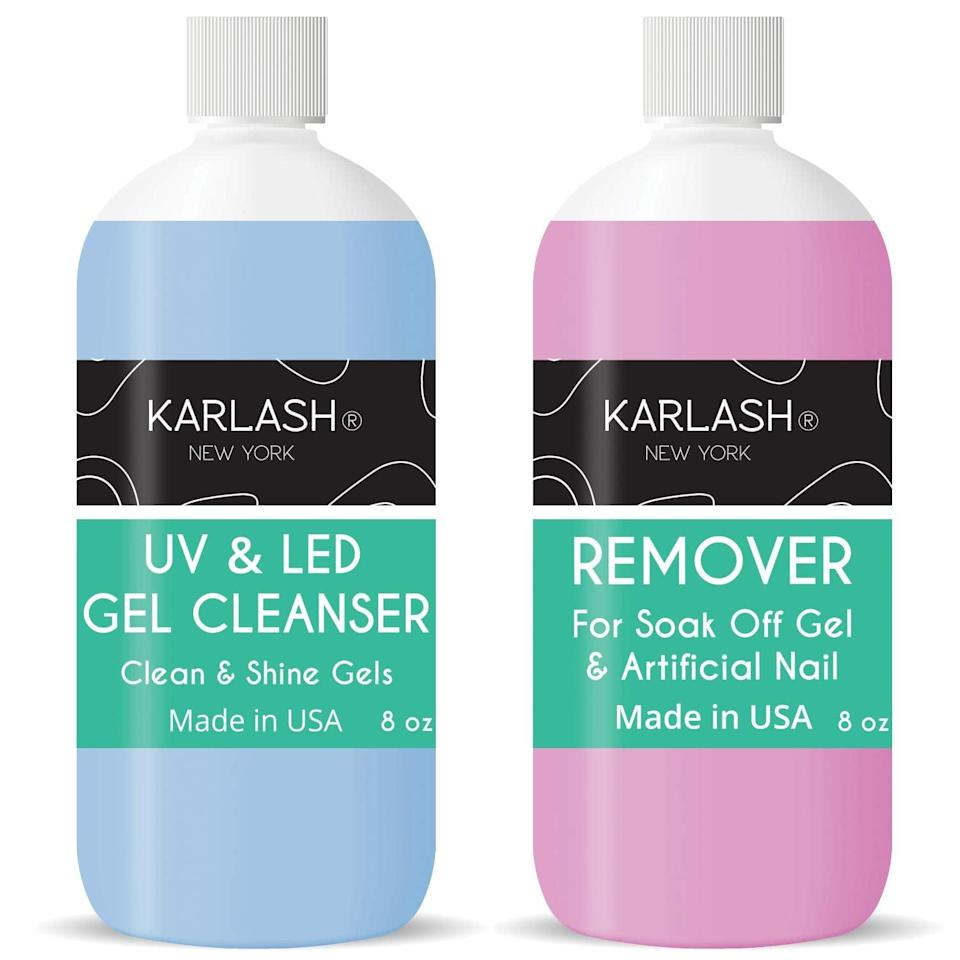 <p>Think of the <span>Karlash Nail Polish Remover and Cleanser</span> ($10-$24) as the bookends to your manicure. You need the remover to take off your previous polish, and the cleanser is to swipe on after your topcoat. Your nails will be sticky even after you've cured your final coat under the UV lamp, so this will make them nice and shiny.</p>