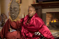 """<p>How many things rhyme with """"pinot noir""""? A surprising number, especially when you consider <i>Kimmy</i> star Tituss Burgess improvised the impressive list of rhymes he sang in """"Pinot Noir,"""" the delightful """"ode to black penis"""" video he filmed on location outside the Nero's Castle strip club (using his cell phone ringtone as the vid's music). Among the rhymes that make us giggle most: Jamie Farr, Myanmar, mid-sized car, Roseanne Barr, under par, Teri Garr, and (of course) Tom Beren-jar. It's the only song that could even come close to topping the year's other most infectious TV tune, the <i>Kimmy</i> theme song. <i>— Kimberly Potts</i></p><p><i>(Credit: Netflix)</i></p>"""