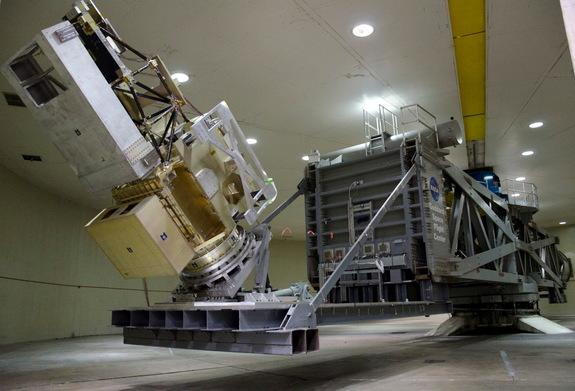 NASA technicians spun the Global Precipitation Monitor (GPM) satellite up to just over 10 RPM in Goddard Space Flight Center's High-Capacity Centrifuge facility March 31, 2011. At that speed, the spin exerted a lateral pressure of 2.4 G's, or 2