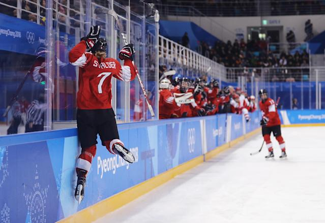 <p>Lara Stalder #7 of Switzerland celebrates after scoring a goal in the second period against Olympic Athlete from Russia during the Ice Hockey Women's Play-offs Quarterfinals on day eight of the PyeongChang 2018 Winter Olympic Games at Kwangdong Hockey Centre on February 17, 2018 in Gangneung, South Korea. (Photo by Maddie Meyer/Getty Images) </p>