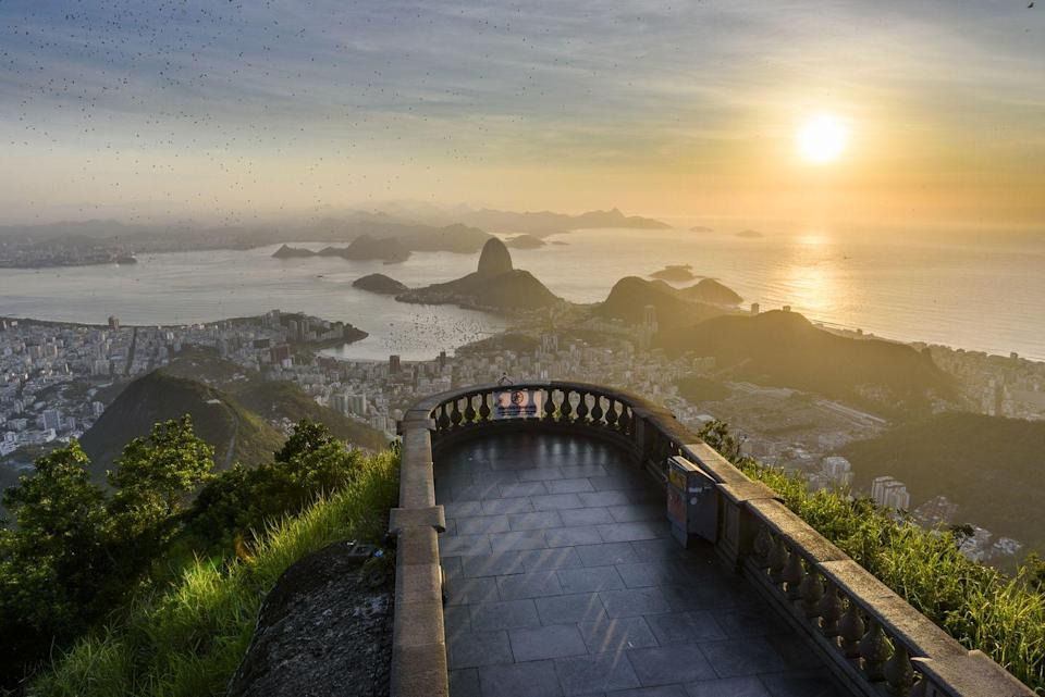 <p>Using Google Earth, zoom in on a landmark so that only the view from the landmark is visible. Then ask players to guess the landmark.</p><p>For example, this picture is of the Rio de Janeiro coastline, taken from Christ The Redeemer.</p>